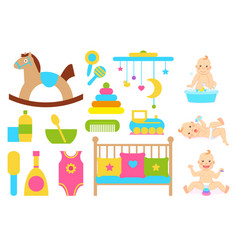 Bawith duck in soap water and kids care objects vector