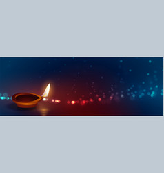 Beautiful happy diwali diya lights banner design vector