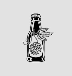 beer and hops monochrome isolated icon vector image