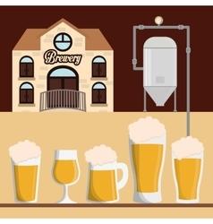 brewery building beer various glasses foam vector image