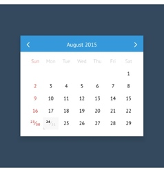 Calendar page for August 2015 vector image vector image