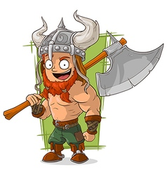 Cartoon strong viking with big axe vector image
