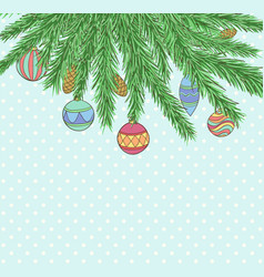 christmas background with balls hanging vector image