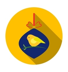 Christmas bauble with bird icon in flat style vector