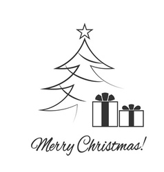 Christmas tree flat isolated vector