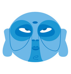 clipart a blue color face used for tribal vector image