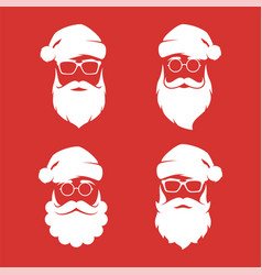 collection four hipster style santa claus vector image