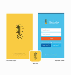 Company thermometer splash screen and login page vector