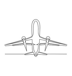 continuous drawing one line an airplane vector image