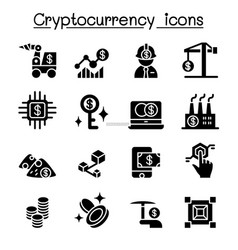 Cryptocurrency blockchain ico icon set vector
