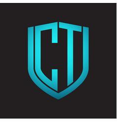 ct logo monogram with emblem shield design vector image