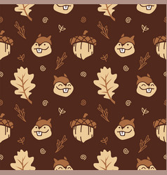 Cute cartoon squirrel with nuts and autumn leaf vector