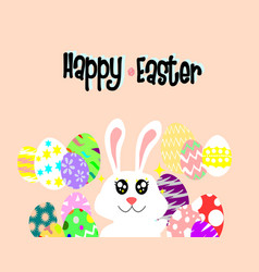 cute easter bunny with a lot of colorful eggs vector image