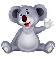 Cute koala cartoon waving hand vector image