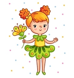 Cute young girl holding a beautiful yellow flower vector