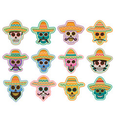 Day of the dead skull icon mexican holiday design vector