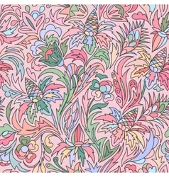 Doodle colorful floral hand draw pattern vector image