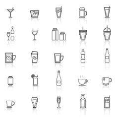 Drink line icons with reflect on white vector