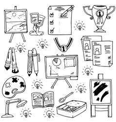 Education suplies doodles school collection vector