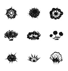 Explosion icons set simple style vector