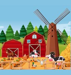 Farm scene with animals vector