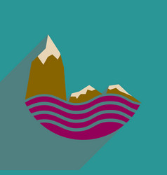 Flat web icon with long shadow sea cliffs vector