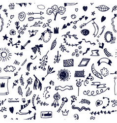 funny doodle elements seamless pattern hand drawn vector image