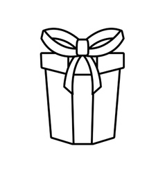 Gift box ribbon parcel shopping linear vector