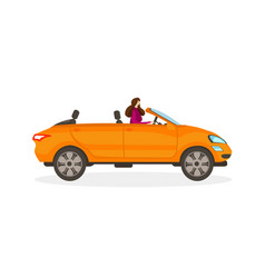 Girl in red dress driving orange convertible car vector
