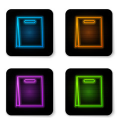 glowing neon paper shopping bag icon isolated on vector image