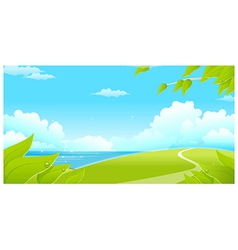Green landscape with sea and blue sky vector image