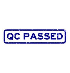 Grunge blue qc abbreviation quality control vector