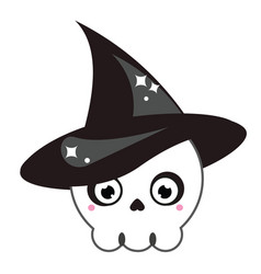 halloween cute skull in witch hat isolated icon vector image