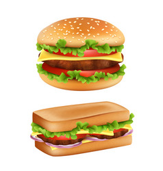 hamburger and sandwich fast food realistic bread vector image