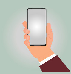 hand businessman is holding new smartphone vector image