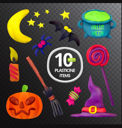 handmade plasticine set for halloween moon bat vector image