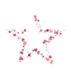 heart shape pink confetti with white star frame vector image