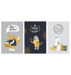 Hello winter and be merry banner with animals vector