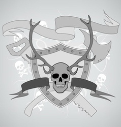 horned skull coat of arms vector image
