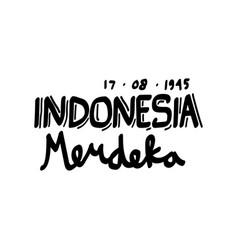 Indonesia merdeka hand drawn lettering vector