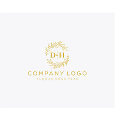 Initial dh letters floral frames monogram wedding vector