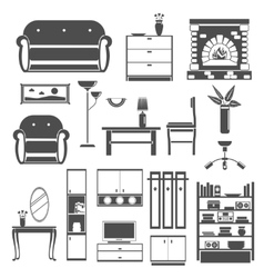 Interior Icons Black Set vector image