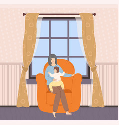 Interior room mother with child at home vector