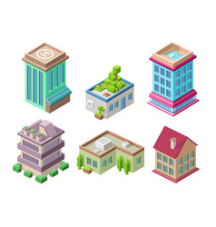 Isometric 3d buildings and city houses vector