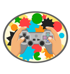 Joystick playstation in the hands of the logo on a vector