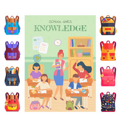 lesson in school classmates and teacher bags set vector image
