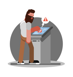 man have troudle by using atm vector image
