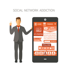 man holding smartphone with social network app vector image