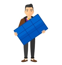 Man holding solar panel vector image