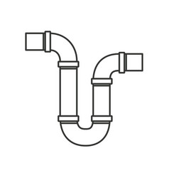 Monochrome silhouette of drain pipe siphon vector